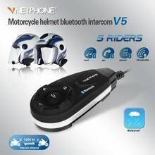 Motorcycle Helmet Intercom V5 Moto Bluetooth Headset FM MP3 GPS Wireless Interphone 5 Bikers Speaker For