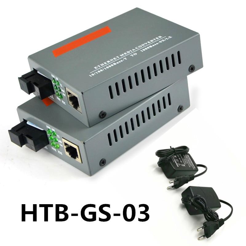 5 Pair HTB-GS-03 A/B Gigabit Fiber Optical Media Converter 1000Mbps Single Mode Single Fiber SC Port External Power Supply