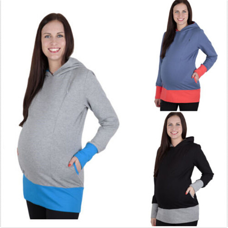 Релаксации женская одежда беременной женщины грудного вскармливания медсестра Топы совместных Длинные рукава с капюшоном свободные толст...