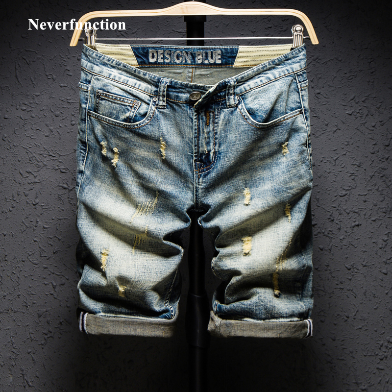 Summer Fashion Brand Design Blue Men Streetwear Ripped Bermuda Jeans Short Fashion Hip Hop Casual Holes Straight Denim Shorts