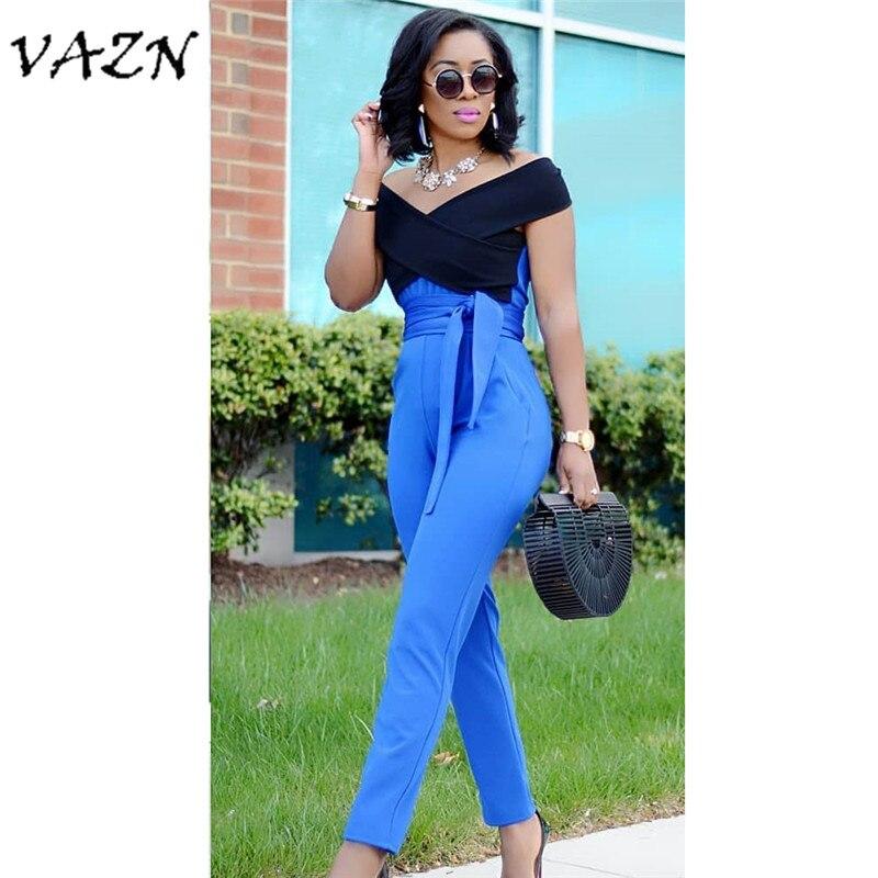 VAZN 2018 Hot Sale Exotic Designer Casual Style Women   Jumpsuit   Slash Neck Short Sleeve Belt Bodycon Romper B9102