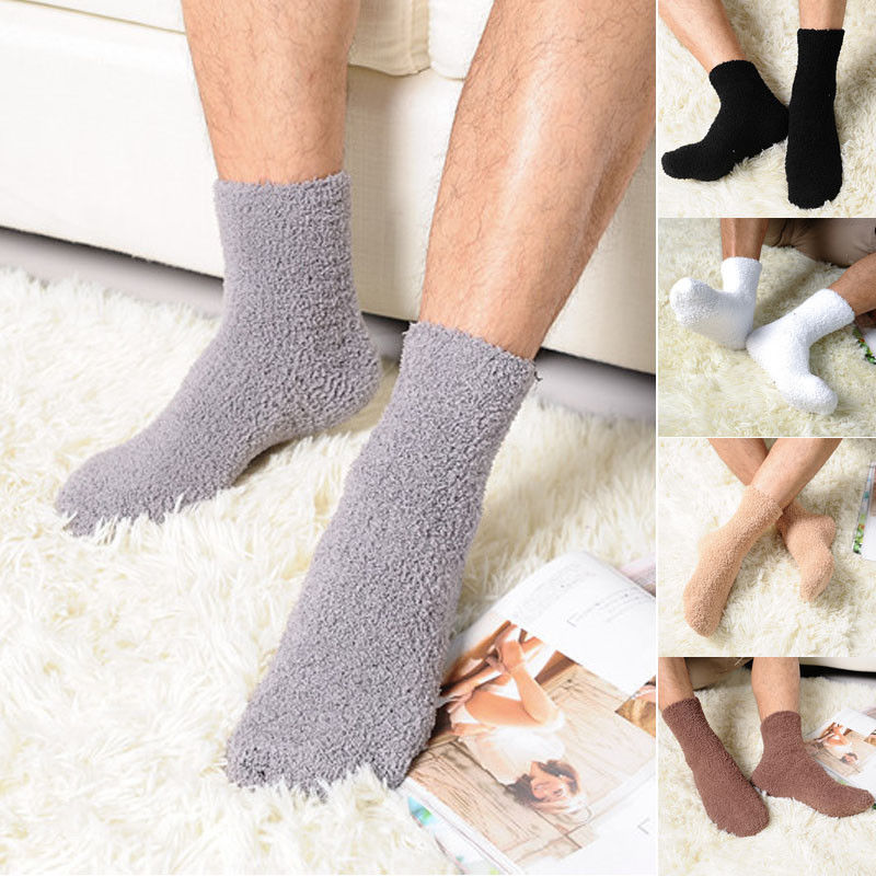 HIRIGIN Newest Solid Color Men Warm Thicken Coral Fleece Socks Fluffy Sleep Bed Sock Perfect Winter  Suit