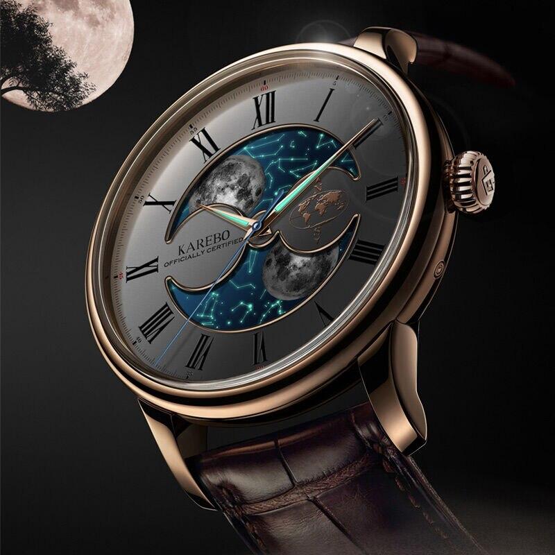 رجال الأعمال التجارية الإسفار مضيئة القمر نجوم الطلب karebo automtatic الذاتي الرياح الميكانيكية ووتش-في الساعات الميكانيكية من ساعات اليد على  مجموعة 2
