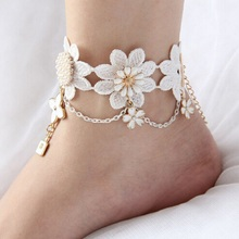 Handmade Gothic jewelry white lace women's anklets women accessories vintage foot jewelry