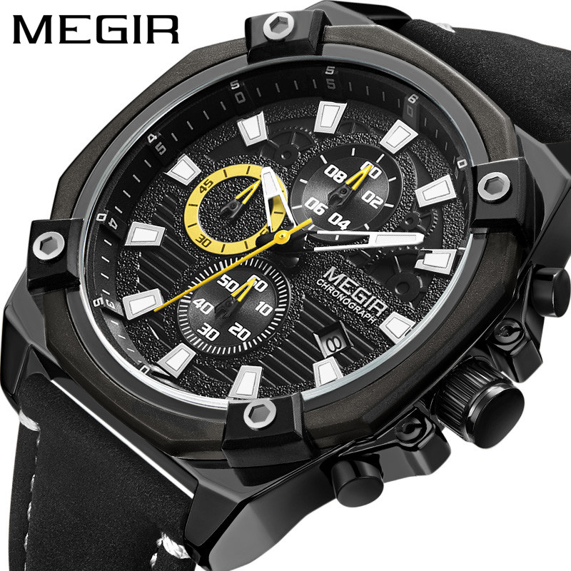 MEGIR Top Luxury Brand Mens Watch Date Chronograph Male Clock Military Army Sport Clock Leather Quartz Men Watches Gift Box 2054