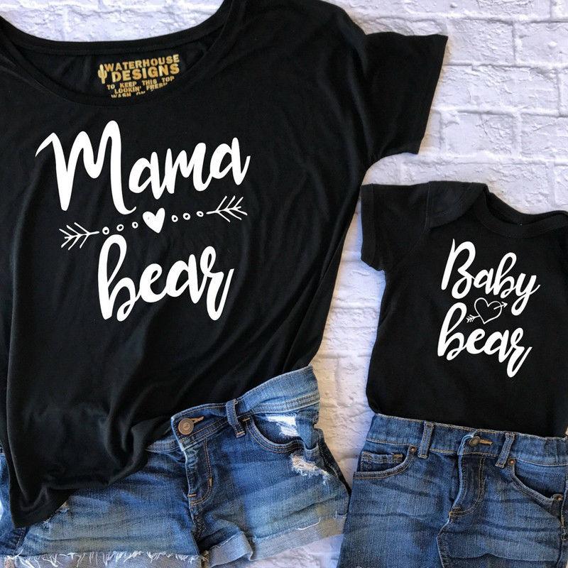 Couple T-Shirt Women Mama Baby Kids Bear Matching Shirts Family Clothes Tee Tops