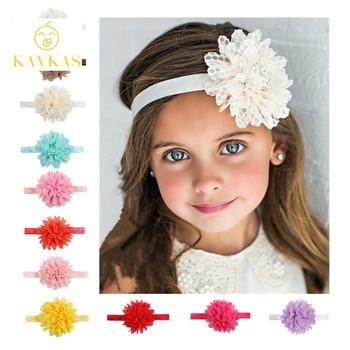Повязка на голову KAVKAS для девочек, 1 шт., повязка на голову для новорожденных девочек, сетчатая бандана в сетку, шифон, цветочное кружево, Детские аксессуары для волос