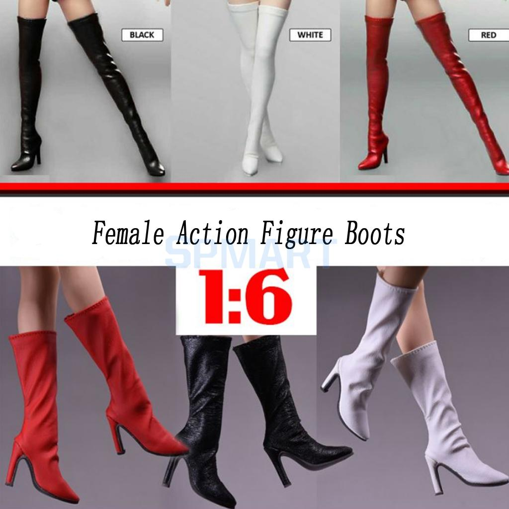 1/6 Scale High Heel Thigh High Over The Knee Boots Mid Calf Boots for 12 Female Action Figure Hot Toys Phicen Accessories