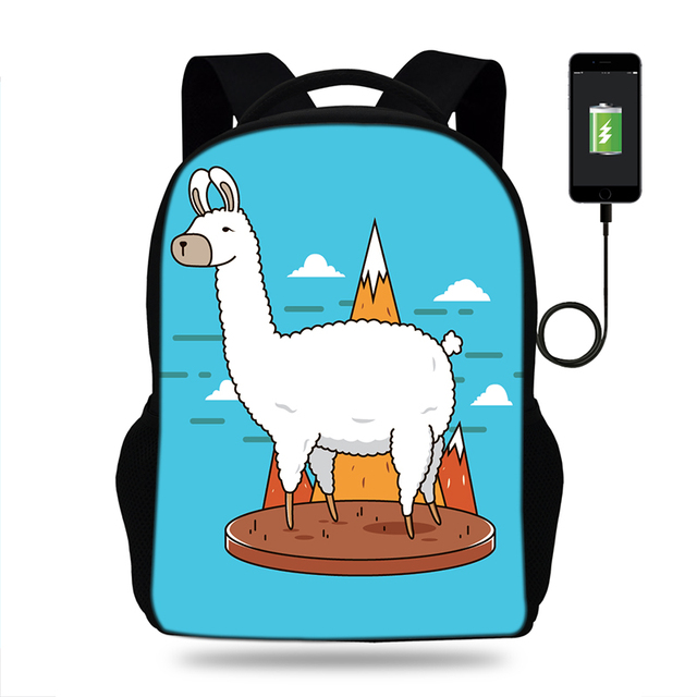 Animals School Bag cute Llama Alpaca Cartoon Printing Backpack USB Charging Schoolbag Students Book Bags Kids For Teenager Girls – k8371
