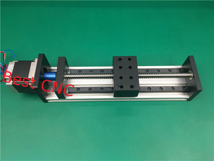High Precision CNC GX 80*50 1605 Ballscrew Sliding Table 200mm effective stroke +1pc nema 23 stepper motor axis Linear motion toothed belt drive motorized stepper motor precision guide rail manufacturer guideway