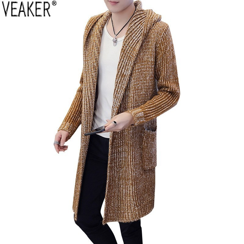 Outerwear Cardigan Coat Sweater Long-Sleeve Autumn Men's Winter Casual New Solid