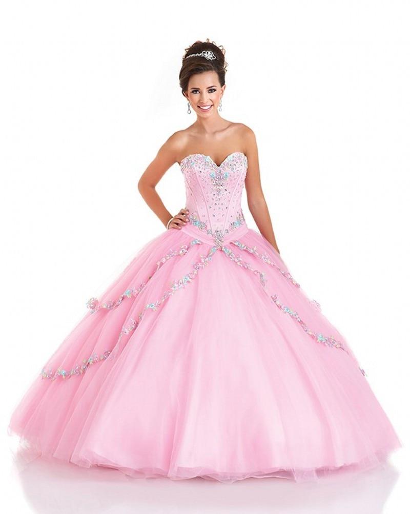 Hot Sale Beaded Top Pink Peach Quinceanera Dresses Vestido De 15 ...