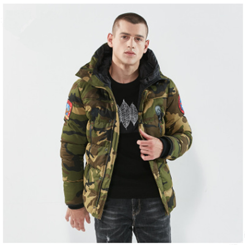 New Fashion Camouflage Parkas Mens Military Medium-long Winter Coat Thickening Cotton-padded Winter Jacket Men With Fur Hood new 2017 men winter black jacket parka warm coat with hood mens cotton padded jackets coats jaqueta masculina plus size nswt015