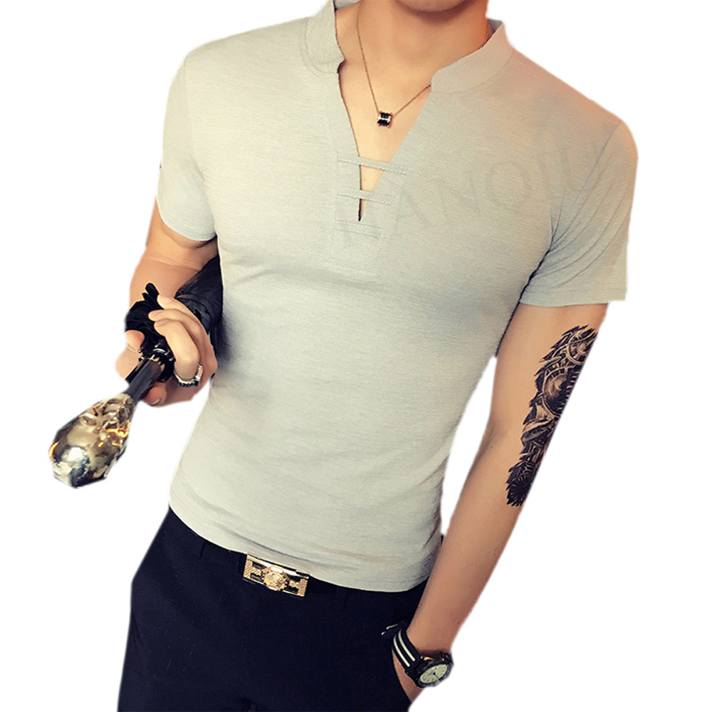 Shirt design china - 2017 Brand Clothing New Design V Neck T Shirt Men Summer Short Sleeve Slim Fit T