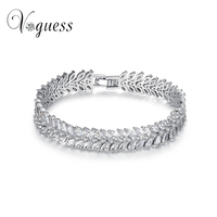 VOGUESS Nieuwe Trendy 2017 Unieke Zirconia Sieraden Zilver Kleur Leaf Charm AAA + CZ Kristal Vrouwelijke Armbanden Armbanden Voor Vrouwen