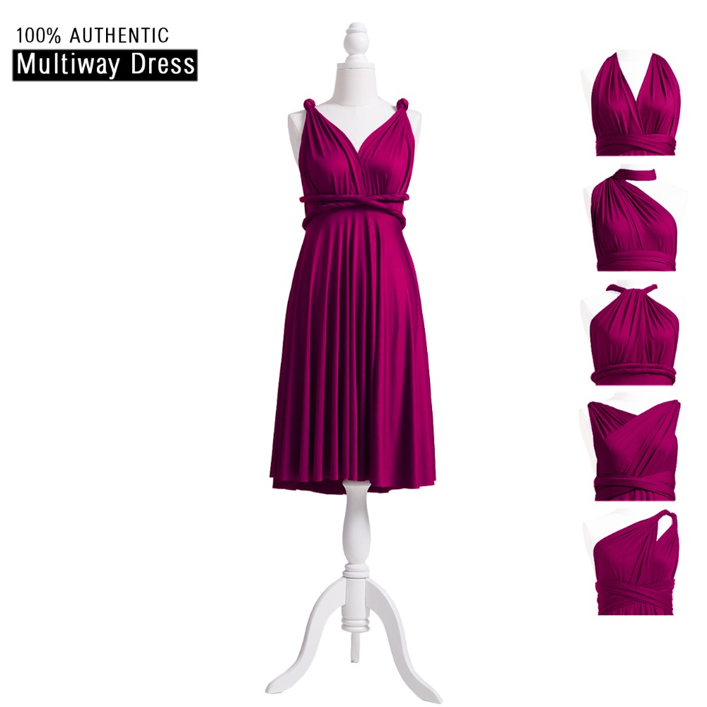 Plum   Bridesmaid     Dress   Short Infinity   Dress   Convertible   Dress   MultiWay Wrap   Dress   With Straps Cap Sleeves Styles