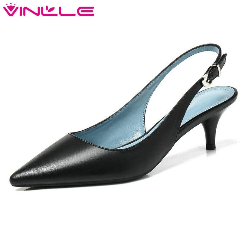 VINLLE Elegant 2018 Women Pumps Pointed Toe Thin Med Heel Ankle Strap Slingback Black Ladies Wedding Shoes Size 34-40