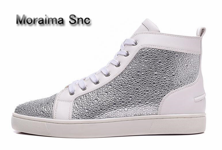 a6122931479eb8 Moraima Snc brand white women sneakers shoes round toe Lace Up Bling flats  shoes women crystal