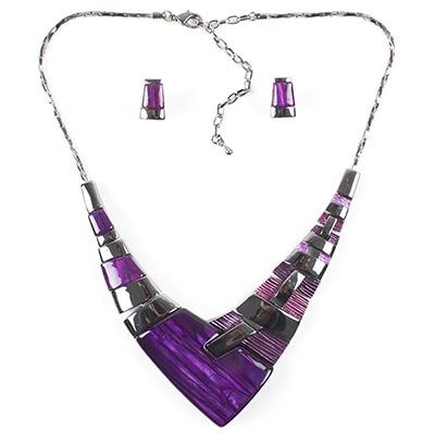 MS20101 Модный Ювелирный Набор, бронзовое покрытие, яркие цвета, высокое качество, женское ожерелье, серьги, набор, свадебные ювелирные изделия - Окраска металла: Purple