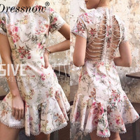 High Quality Rob Femme Ete Hot Sale Women Dress Fashion Short Sleeve Print Lace Mermaid Dress Sexy Hollow Out Summer Dress
