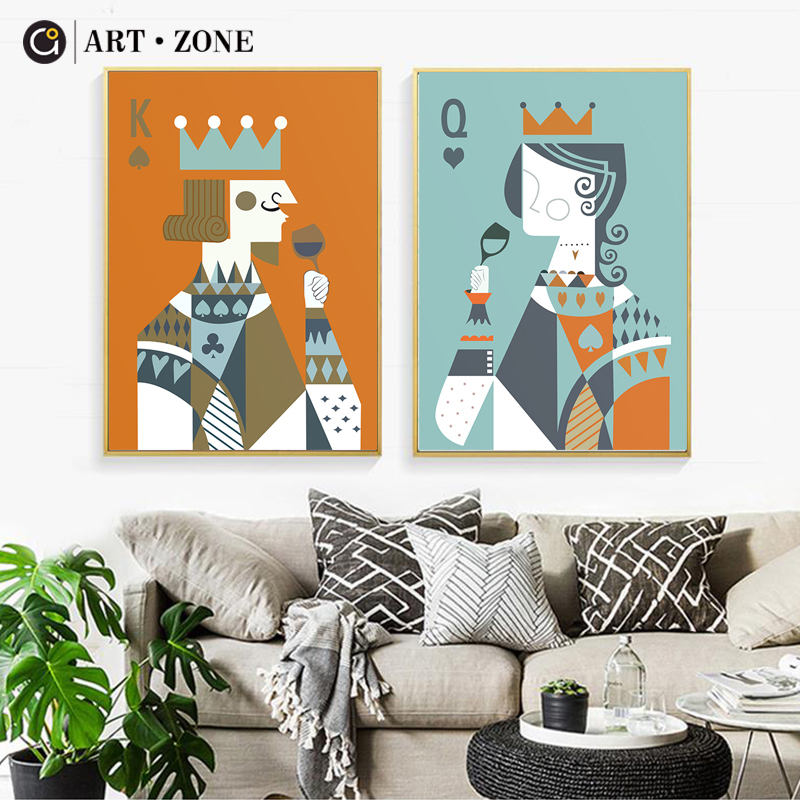 Kings Home Decor: Aliexpress.com : Buy ART ZONE King And Queen Nordic Canvas