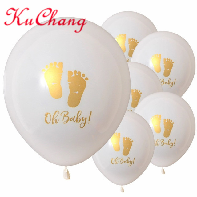10pcs 10inch oh baby printed latex balloons baby feet pattern for