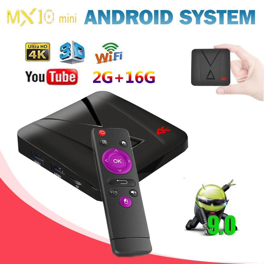 MX10 mi ni Réseau Lecteur Amlogic RK3328 TV BOX Android 9.0 2 gb 16 gb HDTV 4 k Set Top boîte pour xiaomi tv mi boîte (mx10, x99, tx6)