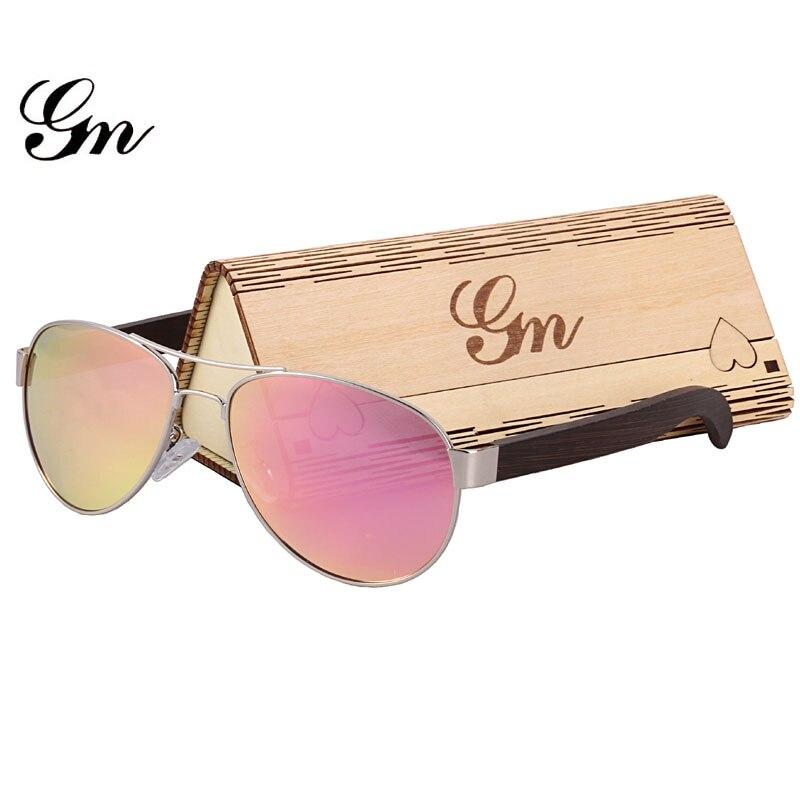 G M Bamboo, Wood, Metal Sunglasses Luxury Brand Fashionable Glasses And Box