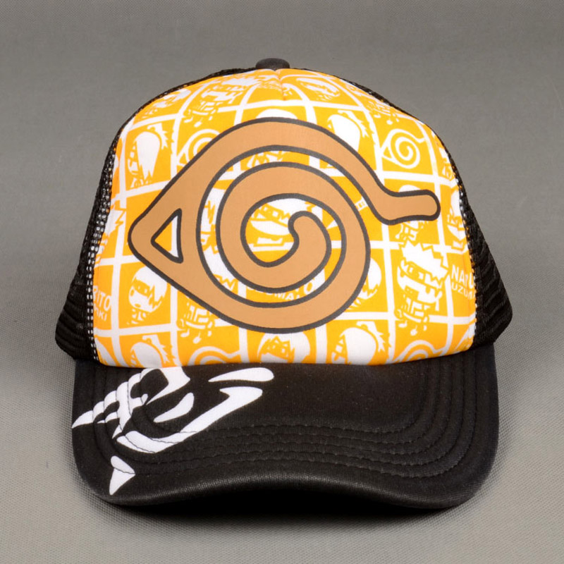 NARUTO Anime With Konoha Mark/Uchiha Itachis Sign Sun Cap Casual Adjustable Summer Mesh Hat for Cosplay Fans