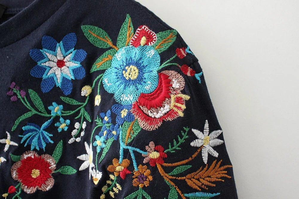 HTB1bQ0cQpXXXXchXFXXq6xXFXXX9 - Women Cotton Slim Floral Tshirts Casual Street Daily