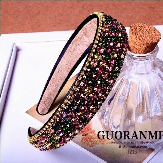 Mulheres de moda de alta qualidade faixas de cabelo strass tiara de cristal de luxo diamante de abas largas hairbands