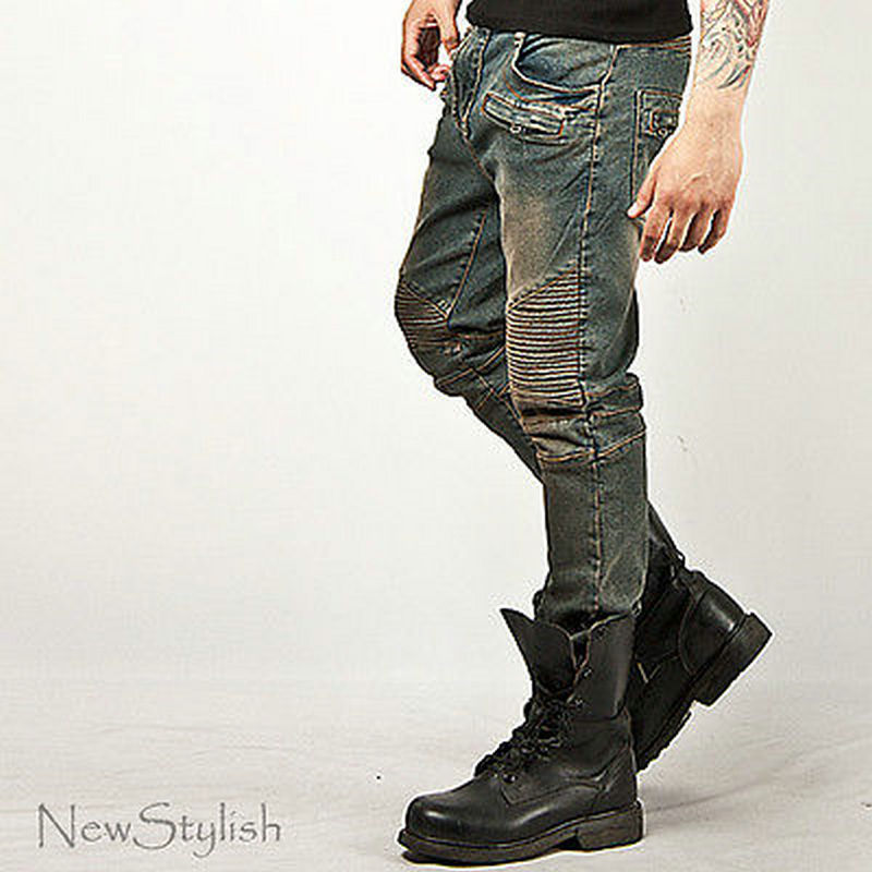 a4561c91 Mens Fashion Bottom Washed Tough Chic Blue Designer Skinny Biker Jeans  Pants-in Jeans from Men's Clothing on Aliexpress.com | Alibaba Group