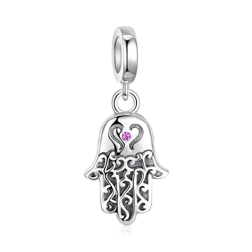JewelryPalace 925 Sterling Silver Fatima Hand Beads Charms Silver 925 Original For Bracelet Silver 925 original Jewelry Making