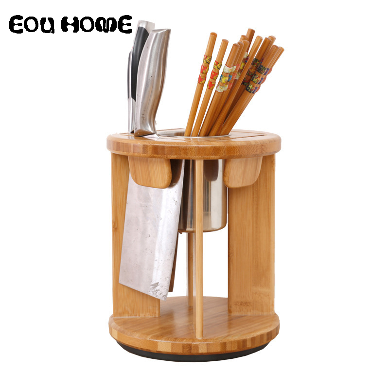 Creative Bamboo Rotatable Knife Blocks Multifunctional Kitchen Accessories Chopsticks Storage Rack Tool Holder Stand Knife Rack