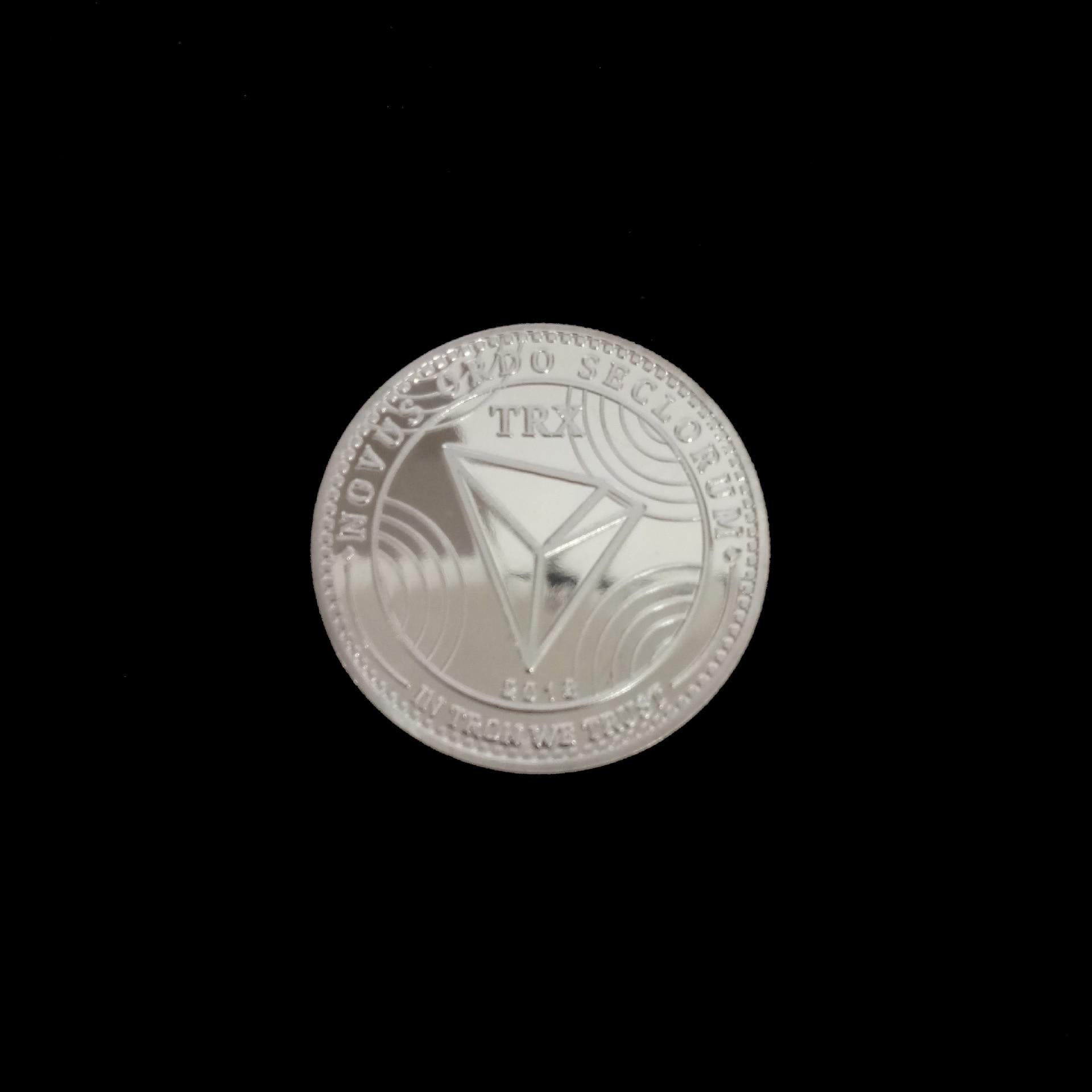 Новые неталютные TRX монеты виртуалные металлические памятные монеты TRX монеты Биткоин памятные монеты подарок Прямая - Цвет: Silver