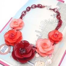 Красный себе ожерелье 2015 большой мода ожерелье с кристаллами цветок ожерелья и подвески Chocker дизайнер дамы летом ювелирные изделия гарри поттер ожерелья из смолы Колье стекло