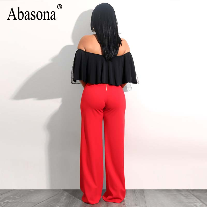 Abasona Beaded Mesh Tops Women Summer Off Shoulder Ruffles Blouse Sexy Party Club Top Female Hollow Out Black White Shirts 2018