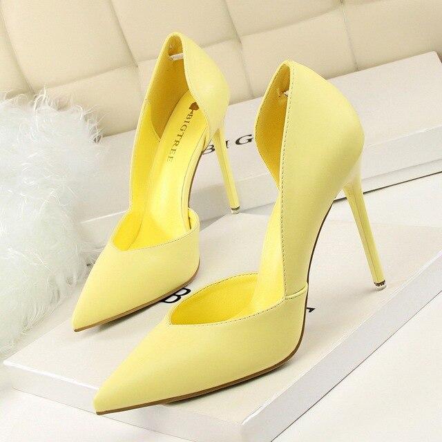 Women Pumps Fashion High Heels Shoes Black Pink Yellow Bridal Wedding Ladies