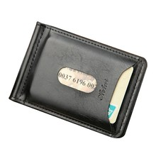 Quality Assurance pu leather money clip with coin pocket leather clamp for money business style purse with clip black men's gift