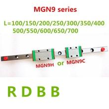 Новинка, для возраста от 9 мм линейные направляющие MGN9 100 150 200 250 300 350 400 450 500 550 600 700 мм линейные рельсы+ MGN9H или MGN9C блок 3d принтер с ЧПУ