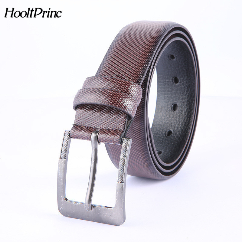 BrandMen's fashion PU Leather   belts   for men High quality metal pin buckle Strap male Jeans cowboy emboss strap