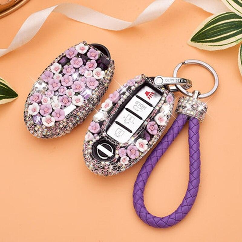 Car Key Case Cover Diamond Key Bag for Nissan Qashqai J10 J11 X Trail t31 t32