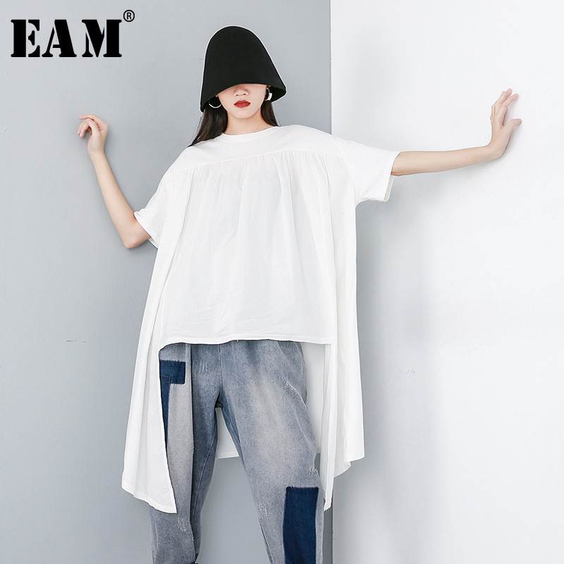 [EAM] 2020 New Spring Summer Round Neck Short Sleeve Black Split Joint Irregular Hem Big Size T-shirt Women Fashion Tide JW095