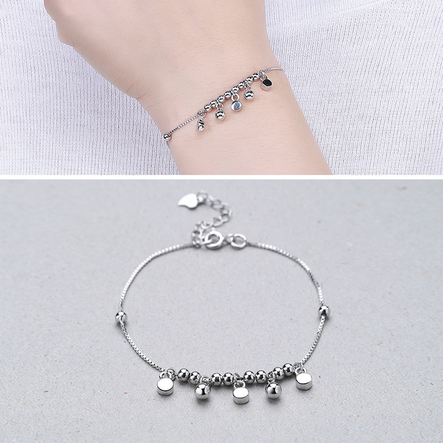 Factory Direct Sales S925 Silver Fashion Wild Box Beads Beaded Bracelet New Korean Version Of The Silver