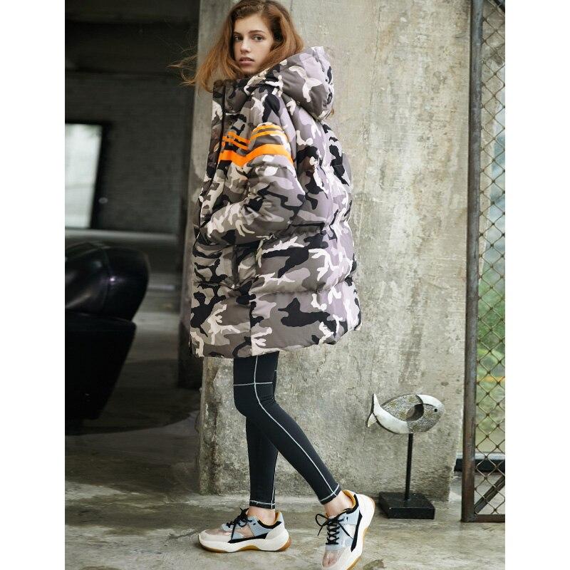 Камуфляж вниз парки женские зимние куртки свободные плотное пальто