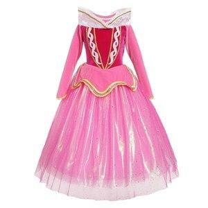 Image 2 - Śpiąca królewna kostium księżniczki Aurora sukienka dla dziewczynki cekinowa różowa suknia dla dzieci z długim rękawem Cosplay karnawałowe sukienki na Halloween