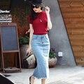 Elastci Cintura larga de Lino de Algodón Faldas 2016 Del Verano de Talle Alto Una línea Jupe Falda Nueva Falda Larga Mujer 2016 Verano Pantalones Vaqueros Mujer
