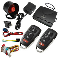 NEW Universal 1 Way Car Alarm System Protection Security Key less Entry Siren 2 Remote Control Burglar hot sale auto kit
