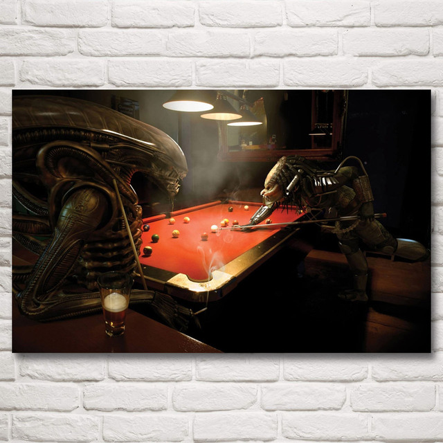 Alien vs Predator Billiards Art Silk Poster Print Wall Home Decor Painting 12×19 15×24 19×30 22×35 Inch Free Shipping