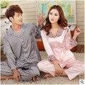 Buena calidad mujeres y hombres otoño invierno pijamas de seda de manga larga parejas pijama juego de gran tamaño ropa de dormir pijama feminino Q965